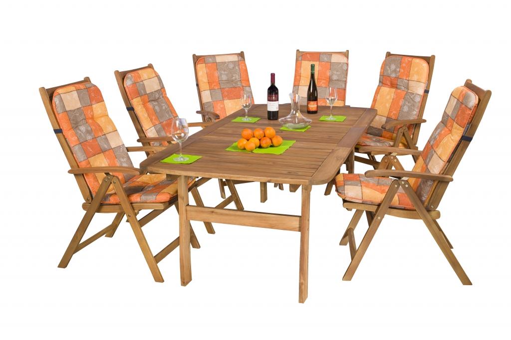 Akácia kerti bútor szett  asztal 100x200 cm + 6db szék + székpárnák -