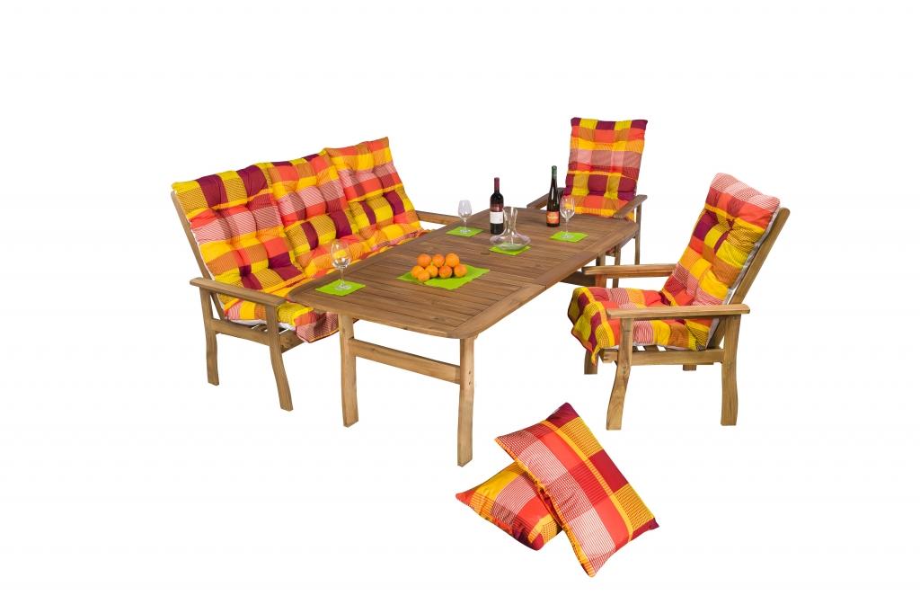 Pados kerti bútor szett 100x200 cm asztal + 2db fotel +pad párnákkal együtt -